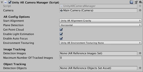 添加Unity AR Camera Manager脚本